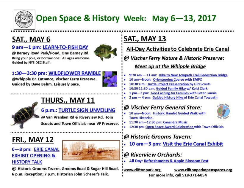 Explore Vischer Ferry! Celebrate a Week of Nature & History May 6 to May 13, 2017!!