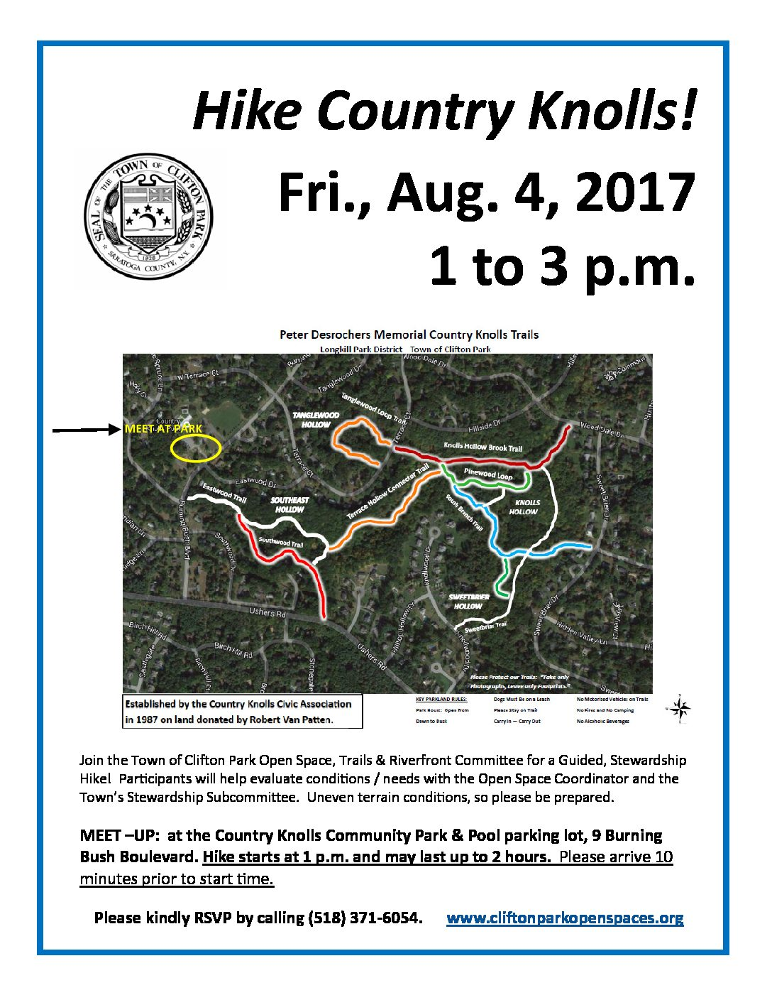 Explore Country Knolls Trails on Aug. 4!