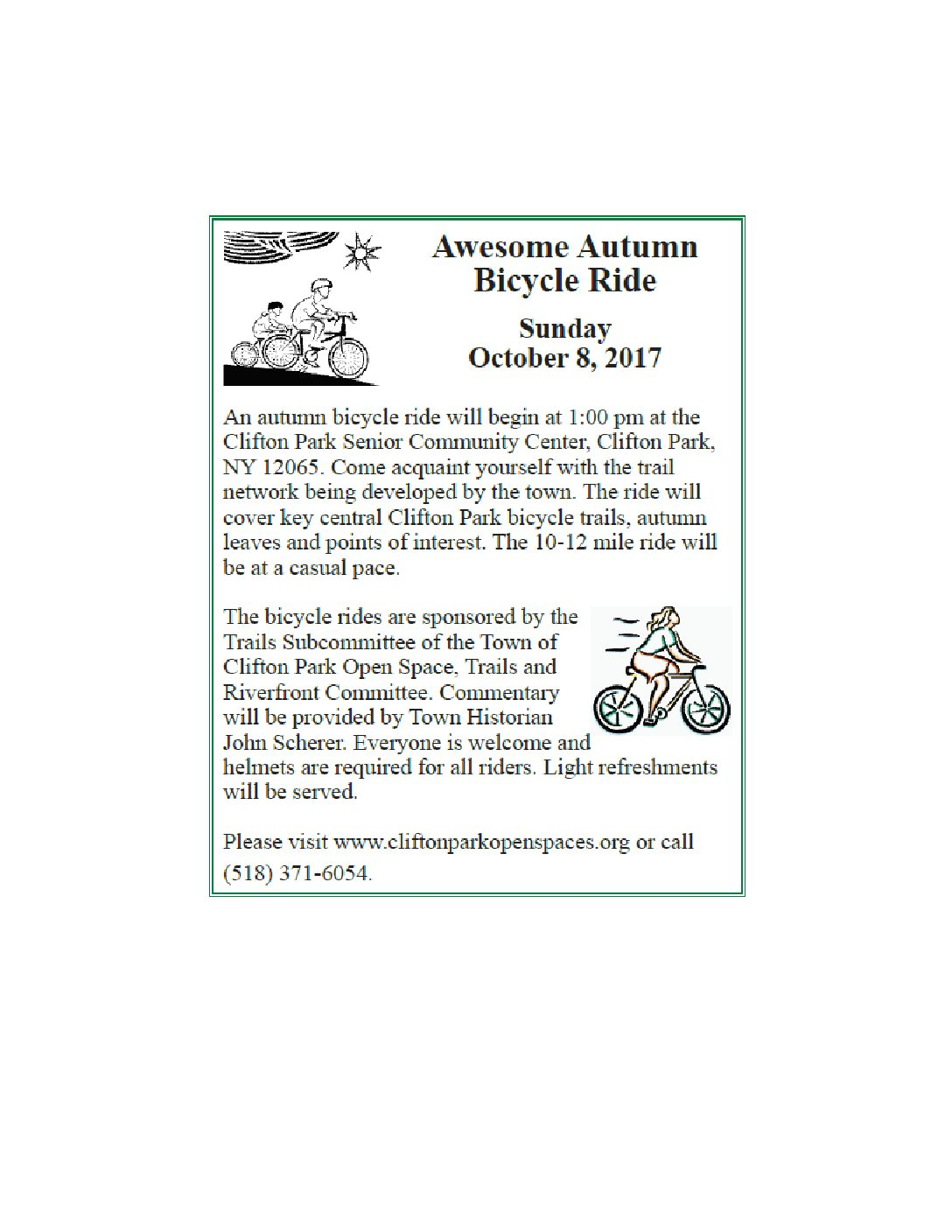 Ride Bikes in the Heart of Clifton Park on Sun., Oct. 8!