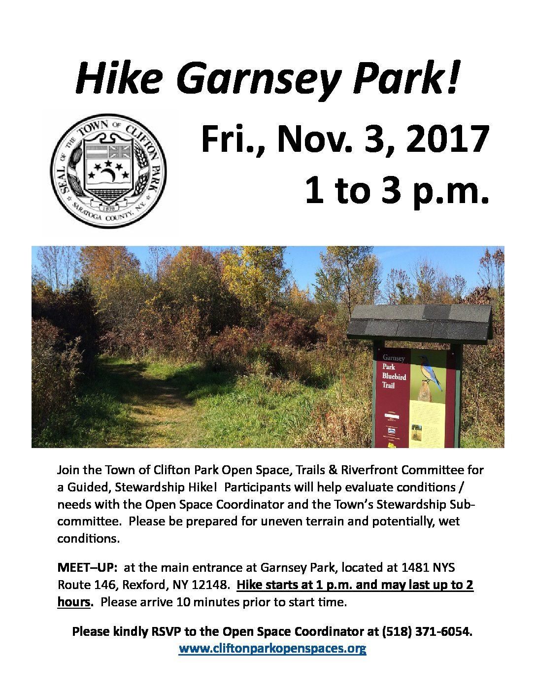 Hike Garnsey Park on Nov. 3